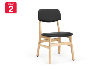 Shangri-La Set of 2 Anja Dining Chairs (Black, PU Leather)