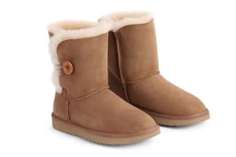 Outback Ugg Boots Short Button - Premium Sheepskin (Chestnut, 5M / 6W US)