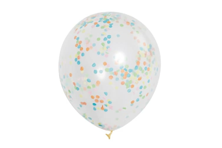 Unique Party Clear 12 Inch Multi Colour Confetti Balloons (Pack of 6) (Multicolour) (12 inches)