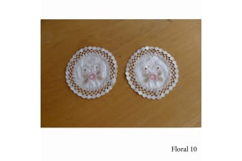Set of 2 Embroidered Doilies Floral 10