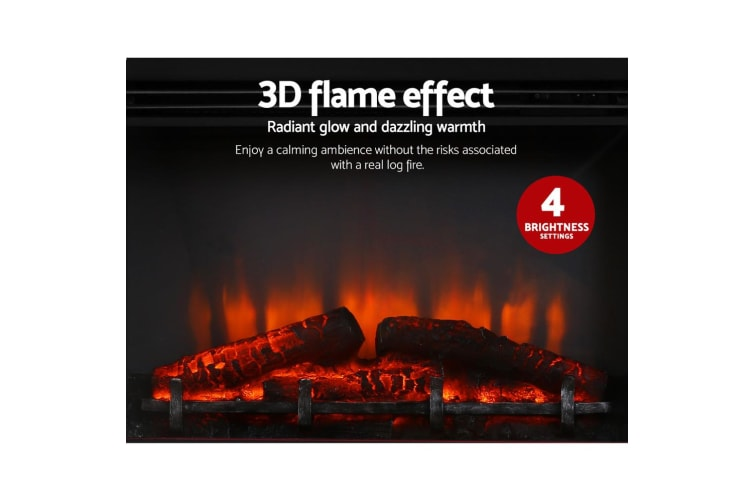 Devanti 2000W Electric Fireplace Mantle Portable Fire Heater 3D Log Flame Effect