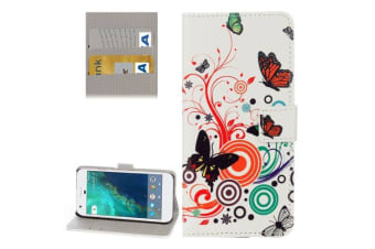 For Google Pixel Wallet Case Colorful Butterfly Stylish Protective Leather Cover