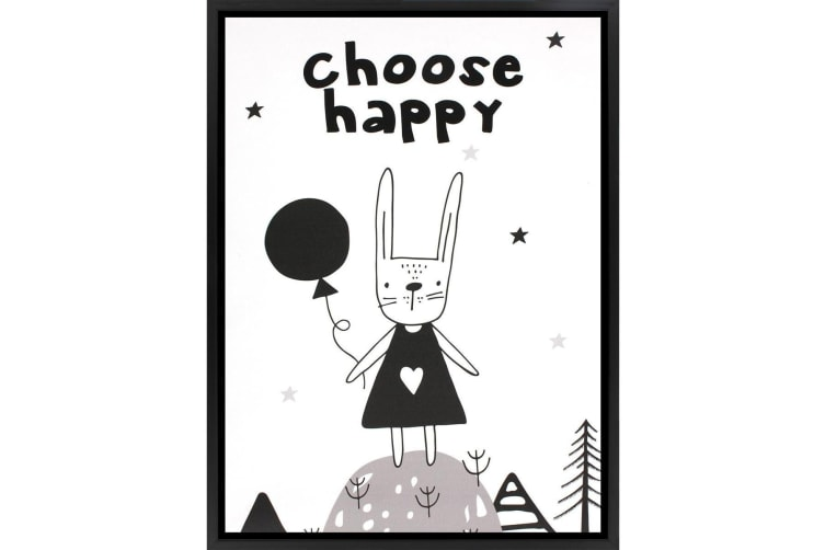 Grindstore Choose Happy Canvas Print (White/Black) (One Size)