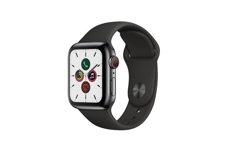 Apple Watch Series 5 (Space Black Stainless Steel, 40mm, Black Sport Band, Cellular)