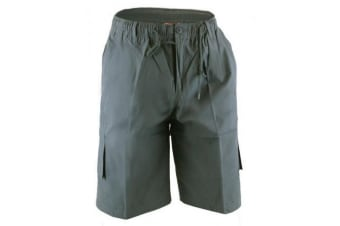 Duke Mens Nick-D555 Shaped Leg Cargo Shorts (Grey) (5XL)