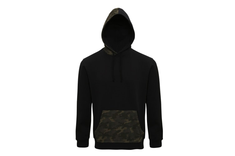 Asquith & Fox Mens Camo Trimmed Hoodie (Black/Green Camo) (XL)