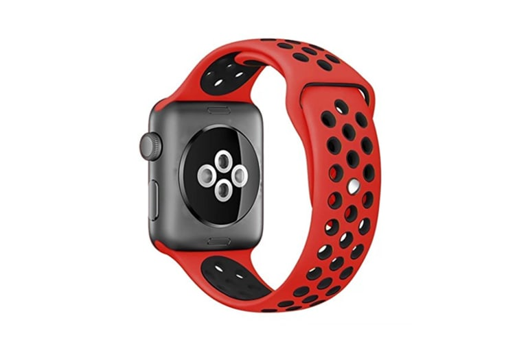 Soft Silicone Replacement Band For Apple Watch Series 3, Series 2, Series 1, Sport , Edition Red Black 38Mm