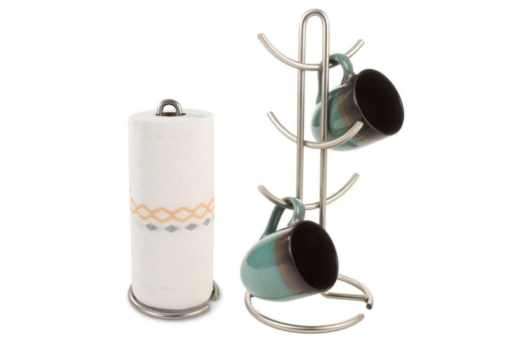 Euro 6 Cup Coffee Mug Tree & Paper Towel Holder Organiser Storage Rack Stand SL