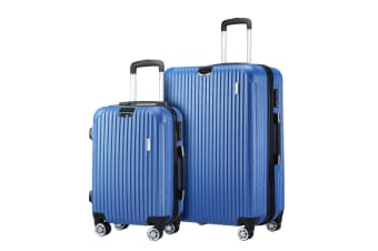 2 Pcs Luggage Set Suitcase Lightweight Trolley Carry On Travel Storage TSA Hard Case - Blue