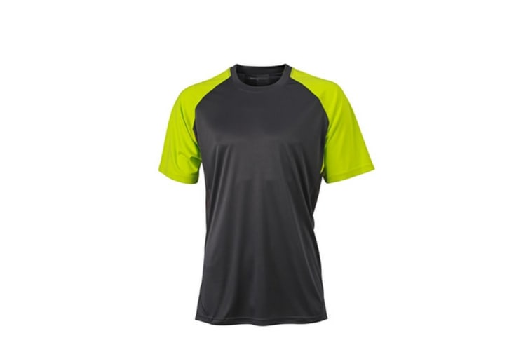 James and Nicholson Unisex Competition Team Shirt (Carbon Grey/Acid Yellow) (L)