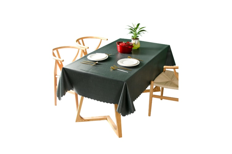Pvc Waterproof Tablecloth Oil Proof And Wash Free Rectangular Table Cloth Darkcyan 90*90Cm