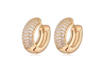 Thick Circular Pave Huggie Earrings - Gold