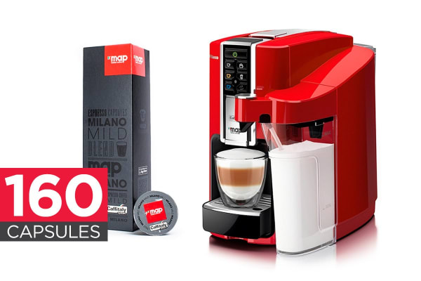 Saeco Bravista Latte Plus Caffitaly Coffee Capsule Machine (Red) + 160 MAP Coffee Capsules