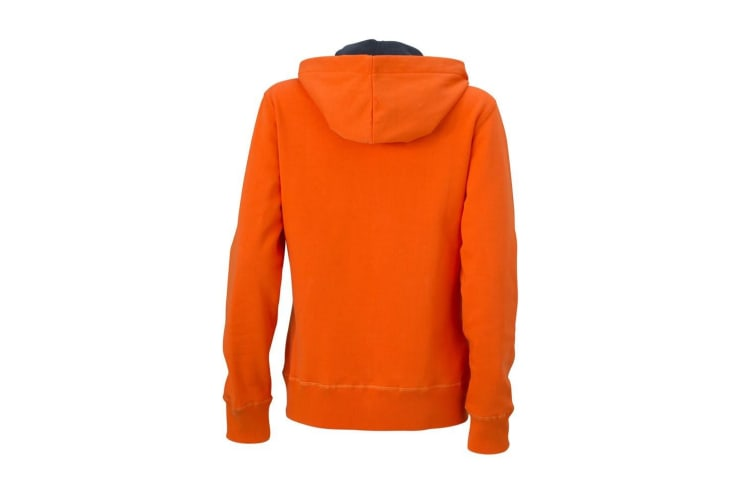 James and Nicholson Womens/Ladies Hooded Jacket (Dark Orange/Carbon) (XXL)