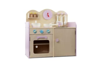 Keezi Kids Wooden Kitchen Play Set - Natural & Pink