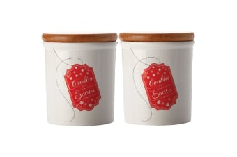 2PK Maxwell & Williams 500ml Santa Canister Storage Container Coffee Tea Sugar