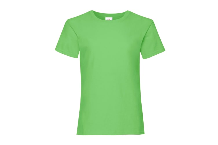 Fruit Of The Loom Girls Childrens Valueweight Short Sleeve T-Shirt (Pack of 2) (Lime) (9-11)