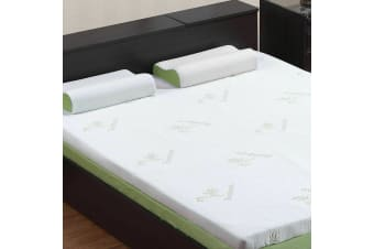 Cool Gel Memory Foam Mattress Topper Bamboo Fabric Cover Queen 8 CM Protector