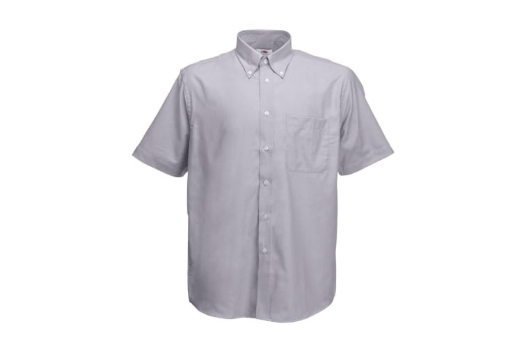 Fruit Of The Loom Mens Short Sleeve Oxford Shirt (Oxford Grey) (3XL)