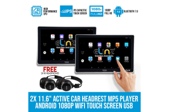 "Elinz 2x 11.6"" Android Active Car Headrest Mp5 WiFi 1080P Touch ScreenNo DVD Player"