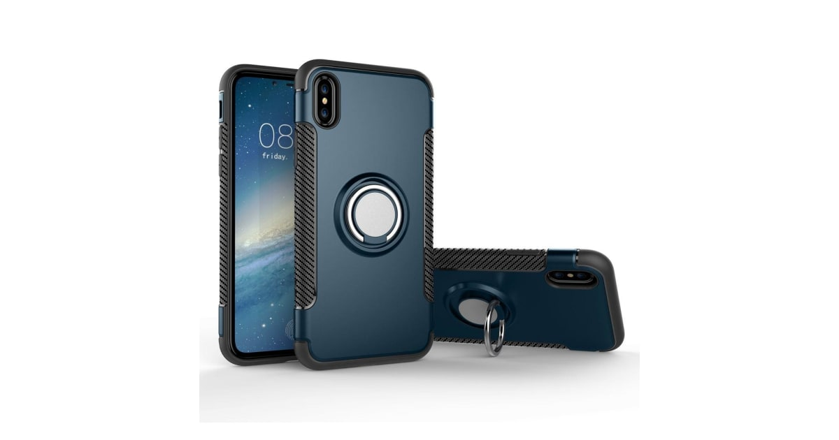 detailed look c87b7 a2eb7 For iPhone XS X Case Styled Magnetic 360 Degree Rotation Ring Armour Cover  Navy | Phone Cases