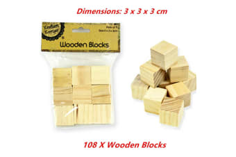 108 x Wooden Blocks Cubes 3x3x3cm Wood Maths Puzzle Building Stacking Toy Handcraft