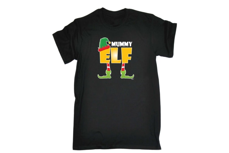 123T Funny Tee - Elf Mummy - (XX-Large Black Mens T Shirt)
