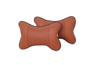 Set Of 2 Elegant Faux Leather Car Seat Neck Rest Pillow Pad Cushion - Brown Brown