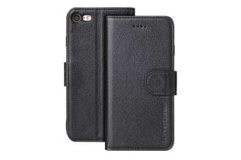 For iPhone 8 7 Case iCoverLover Genuine Cow Leather Wallet Cover Black