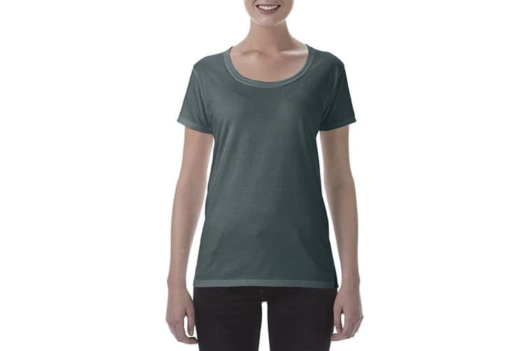 Gildan Womens/Ladies Short Sleeve Deep Scoop Neck T-Shirt (Dark Heather) (S)