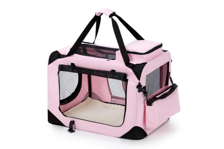 Pet Dog Cat Soft Crate Folding Puppy Travel Cage XL - Pink
