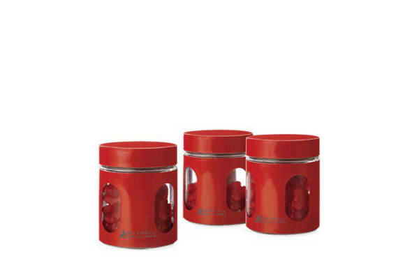 Maxwell & Williams Cosmopolitan Colours Canisters 600ml Set of 3 Red
