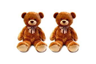 2x Korimco 90cm Kids/Children Rexy Large Teddy Bear Plush Soft Stuffed Toy Brown