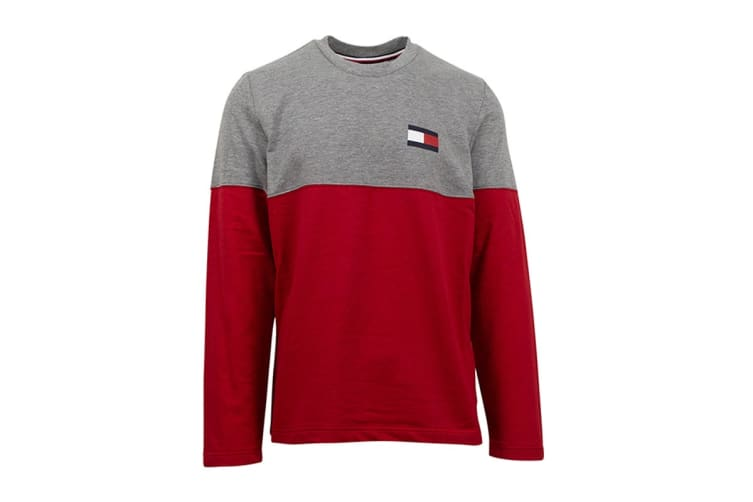 Tommy Hilfiger Men's Modern Essentials Flag Long Sleeve (Grey Heather, Size M)