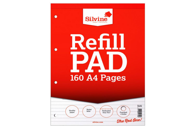 Silvine A4 160 Page Refill Pad (Pack Of 6) (White) (One Size)