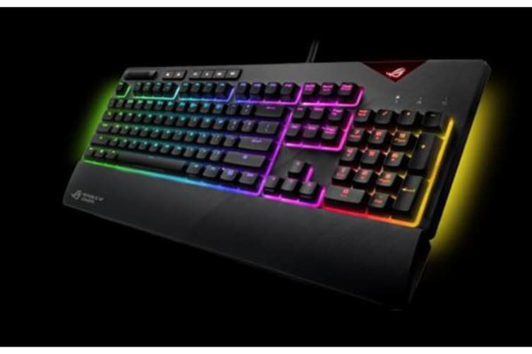 ASUS ROG Strix Flare RGB BLU switch mechanical gaming keyboard with Cherry MX switches, customizable illuminated badge and dedicated media keys
