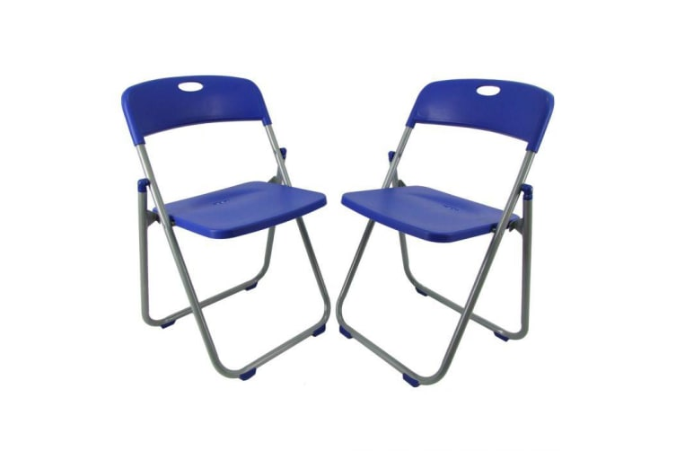 2 x Folding Office Chairs Padded Camping Picnic Arm Foldable Chair