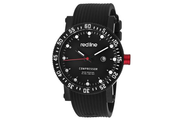 Red Line Men's Compressor Diver Black Dial Black Silicone (RL-18004-BB-01)