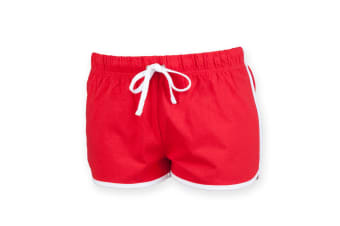 Skinni Minni Childrens/Kids Retro Sports Shorts (Red / White) (11-12 Years)