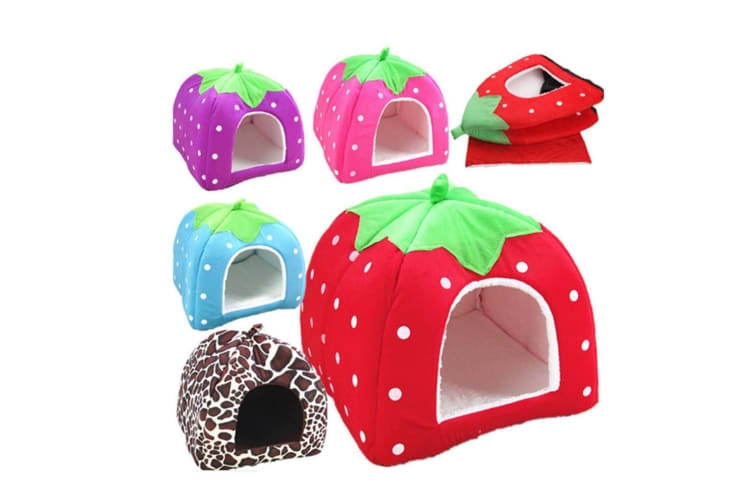 Strawberry Style Sponge House Pet Bed Dome Tent Warm Cushion Basket Leopaddr Print Xl