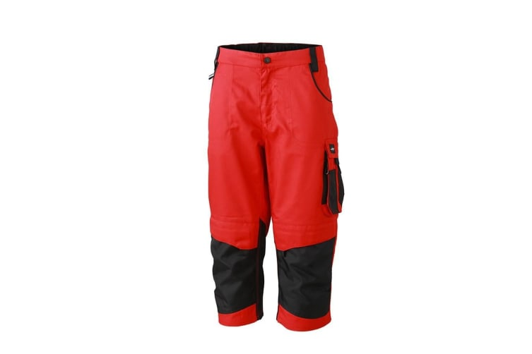 James and Nicholson Unisex Workwear 3/4 Pants (Red/Black) (46R)