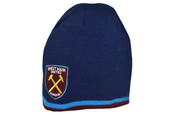 West Ham United FC Official Stripe Beanie Hat (Navy)