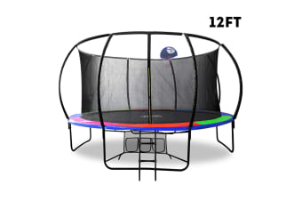 POP MASTER RAINBOW 12FT FIBERGLASS CURVED TRAMPOLINE LADDER SAFETY NET SPRING PAD