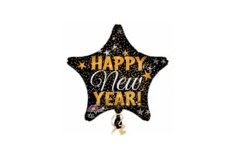 Anagram Happy New Year Confetti Star Shaped Balloon (Black/Gold) (One Size)