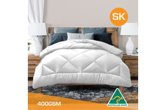 Super King Size Aus Made All Season Soft Bamboo Blend Quilt White Cover