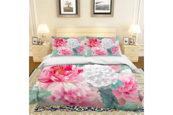 3D Watercolor Peony Quilt Cover Set Bedding Set Pillowcases 52-Single