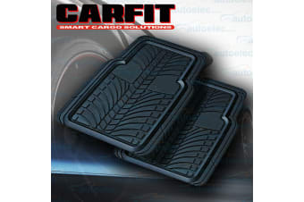 2x FRONT RUBBER NON SLIP FLOOR MATS DEEP GROOVE 4X4 4WD TRAP MUD SAND BLACK NEW