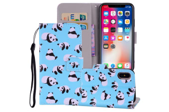 For iPhone XS MAX Cover Leather Folio Wallet Card Slots Mobile Phone Case Panda
