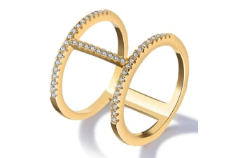Gorgeous Monica 18K Yellow Gold Plated Fashion Ring-Gold/Clear Size US 9