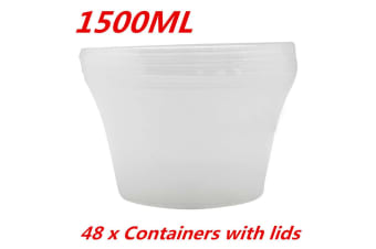 48 x 1500ML ROUND TAKEAWAY CONTAINERS w LIDS DISPOSABLE PLASTIC FOOD CONTAINER 1.5L